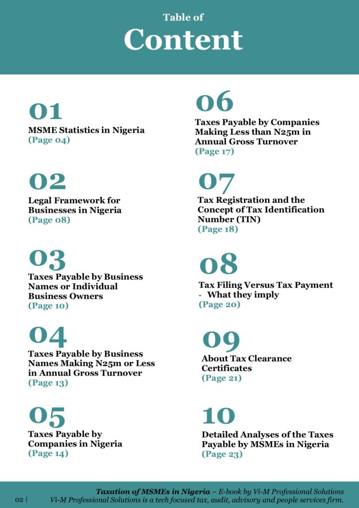 Taxation of Micro, Small and Medium Enterprises (MSMEs) in Nigeria